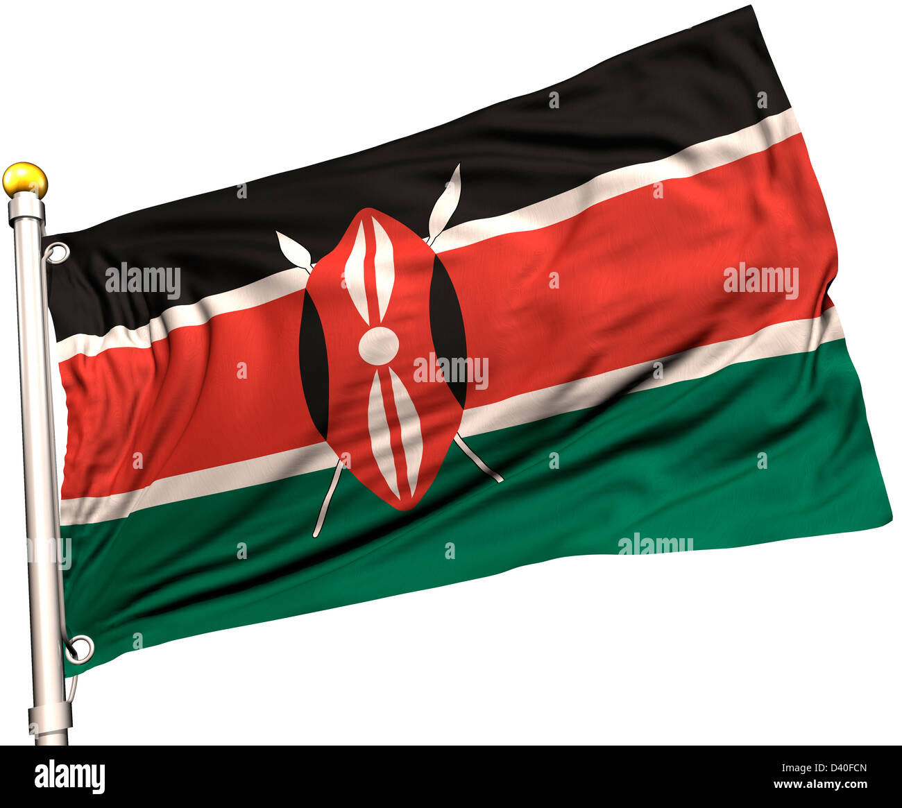 Kenya flag on a flag pole. Clipping path included. Silk texture visible on the flag at 100%. Stock Photo