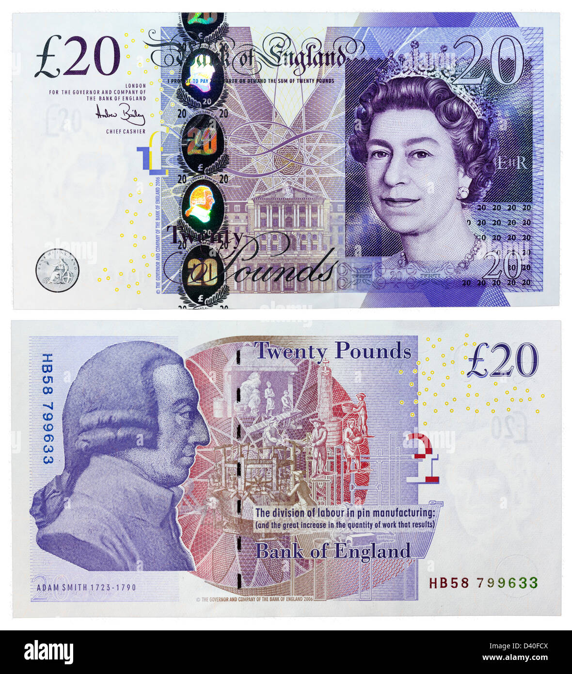 20 Pounds banknote, Queen Elizabeth II, Adam Smith and pin factory, UK, 2006 - Stock Image