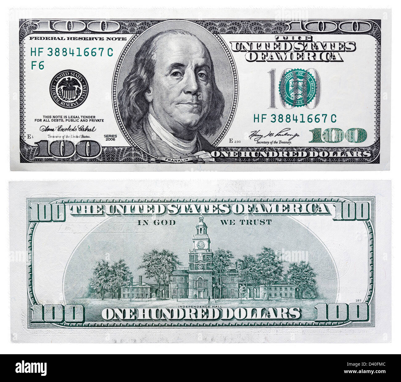 100 Dollars banknote, Benjamin Franklin and Independence Hall, USA, 2006 - Stock Image