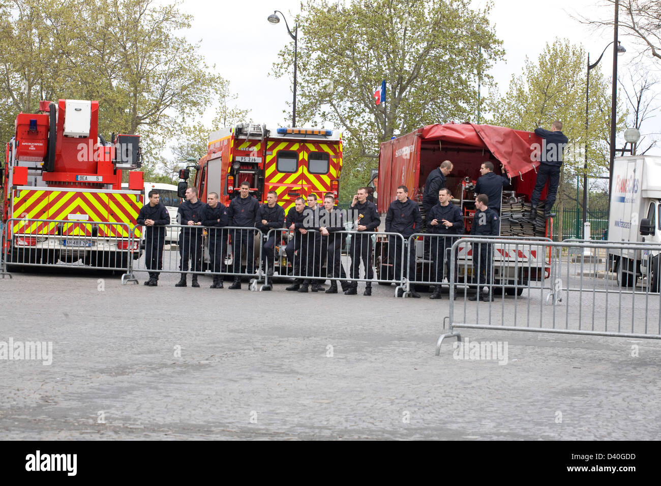 Group Of Firefighters On The Street Paris France - Stock Image