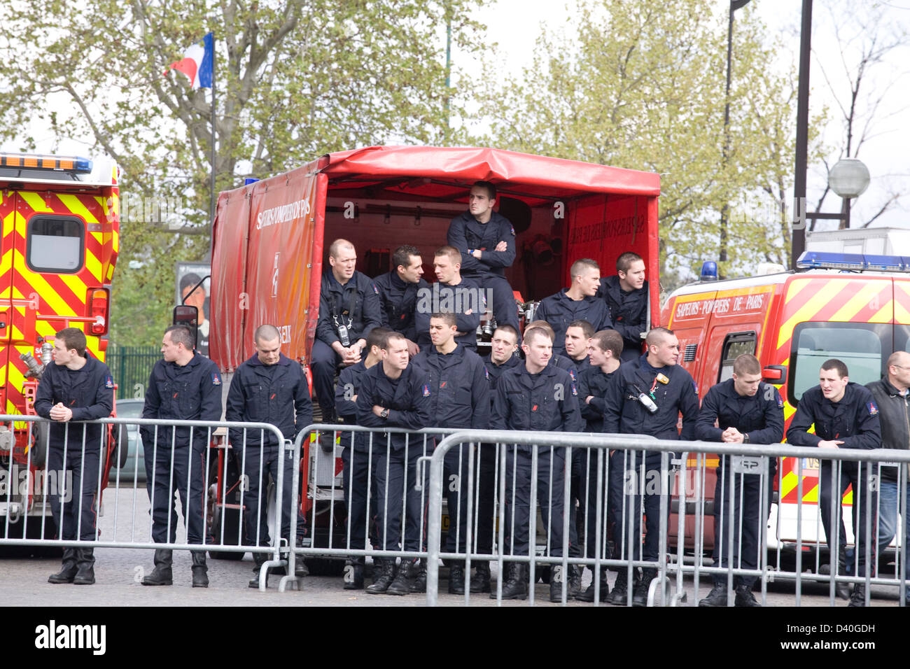 Group Of Firefighters On The Street, Paris, France - Stock Image