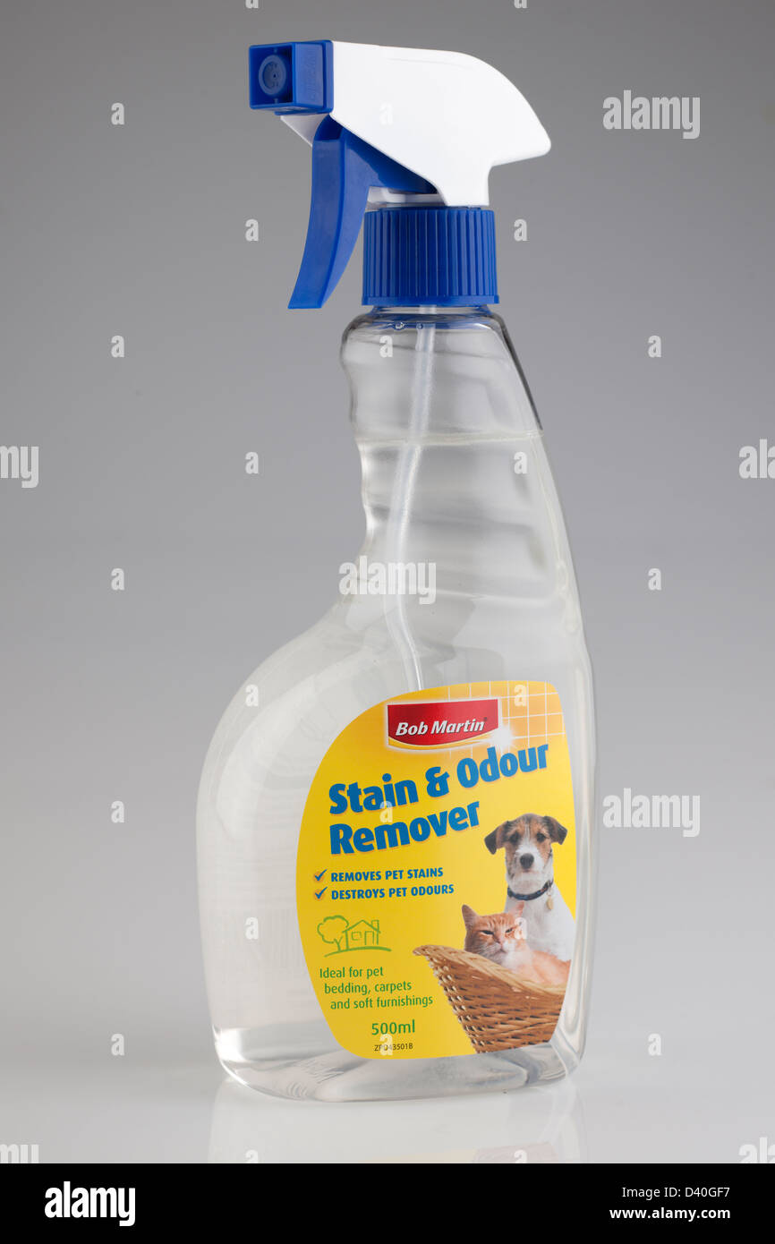Clear spray plastic container of Bob Martins pet stain and odour remover - Stock Image