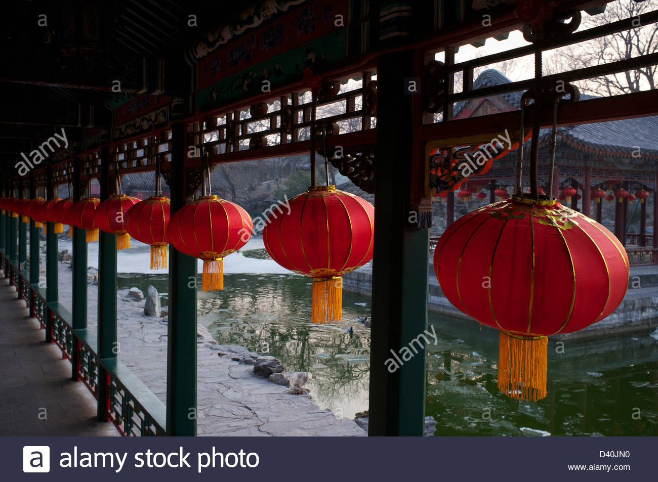 Chinese lanterns are decorated at a  corridor in The Prince Gong's Mansion in Beijing, China. 23-Feb-2013 - Stock Image