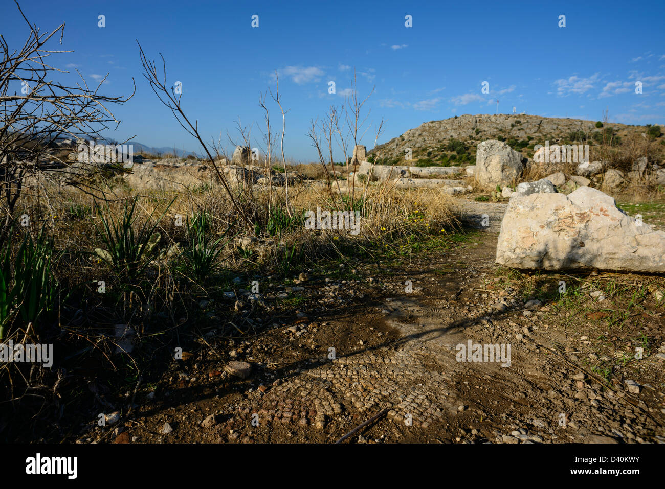 Fragments of ancient mosaic exposed in the ground at the hilltop town of Xanthos in southern Turkey - Stock Image