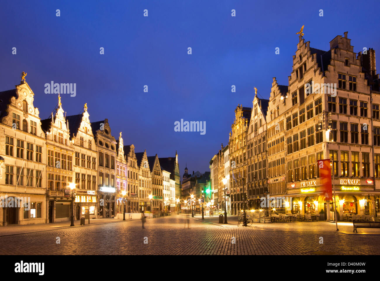 Antwerp by night - Diamond street walkway surrounded by traditional old houses. - Stock Image