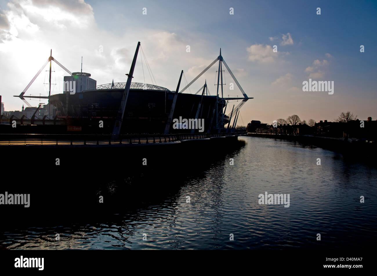 Millennium Stadium and River Taff in Cardiff - Stock Image