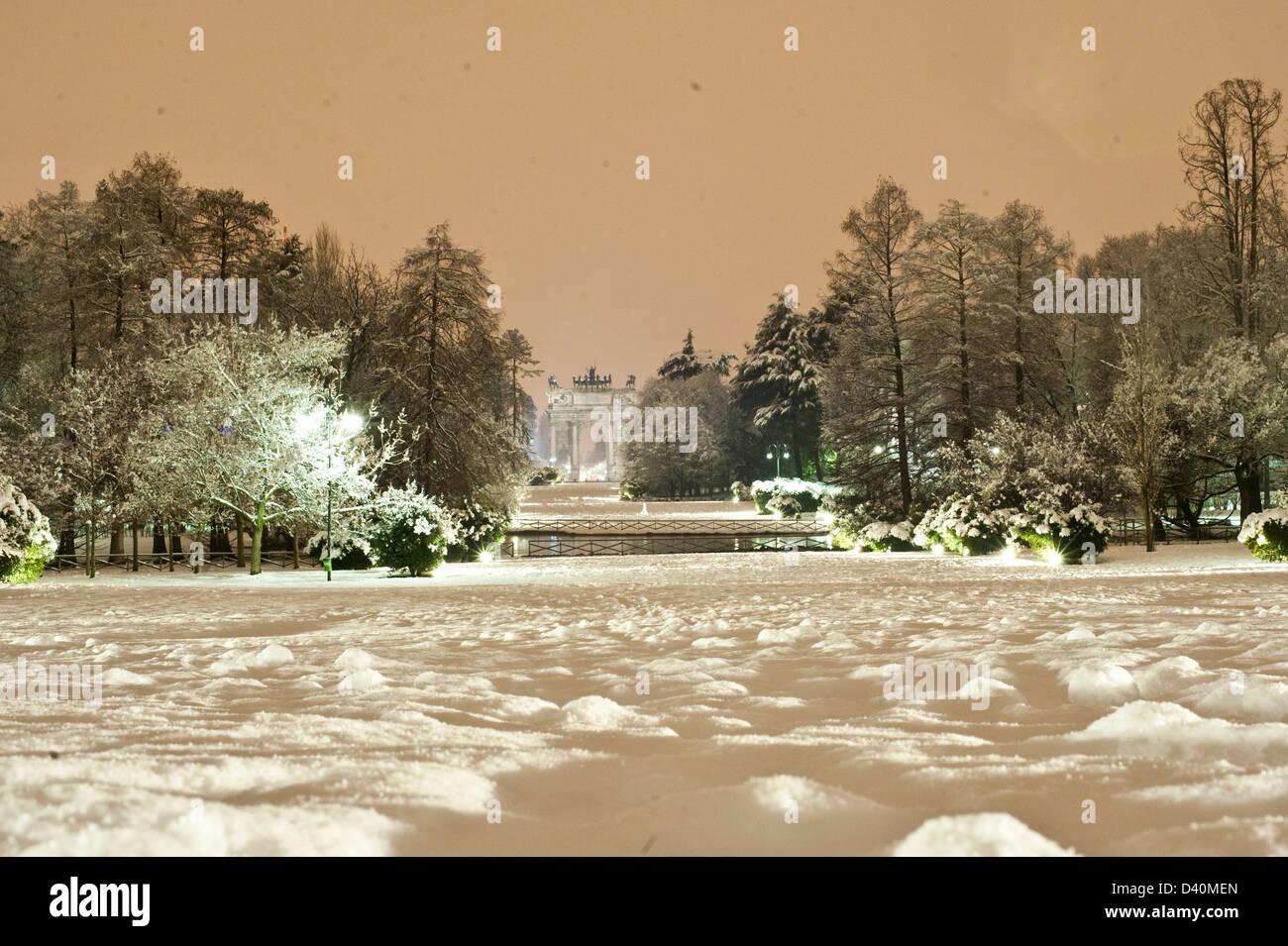 Arco della pace, in Parco Sempione with snow. Stock Photo