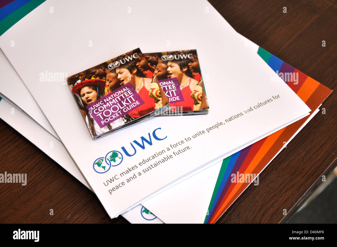 Brochures for United World Colleges UWC - Stock Image