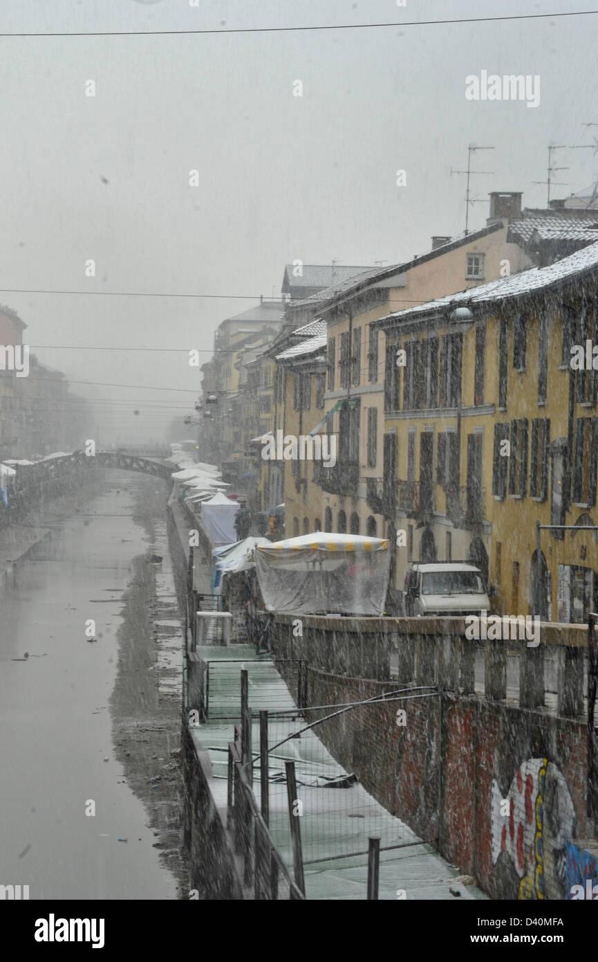 snow on navigli, Milano Stock Photo