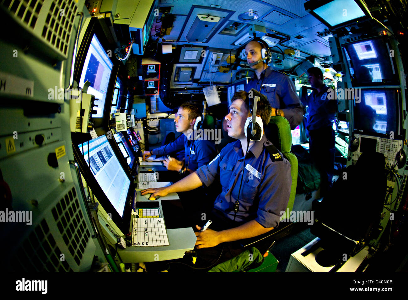 Sonar operators in the sound room of Nuclear Submarine HMS Talent