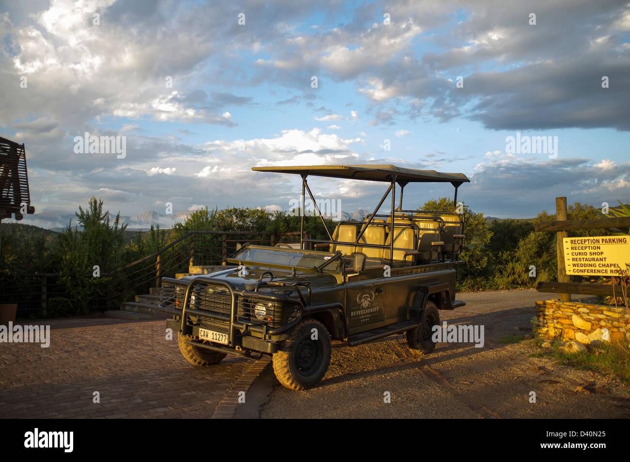 Land Rover Defender safari transport. South Africa - Stock Image