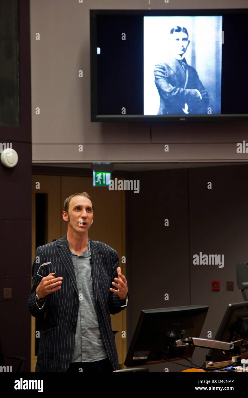 Writer Will Self talks about Franz Kafka - Stock Image