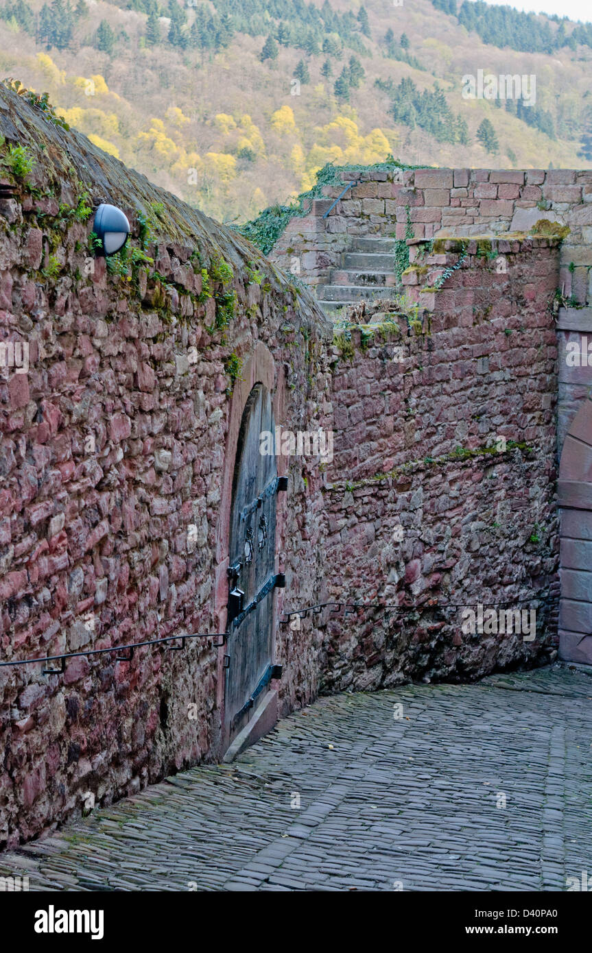 alley, asphalt, background, block, blocks, boulevard, castle, cobblestone, mystery, paved, perspective, road, rocky, - Stock Image
