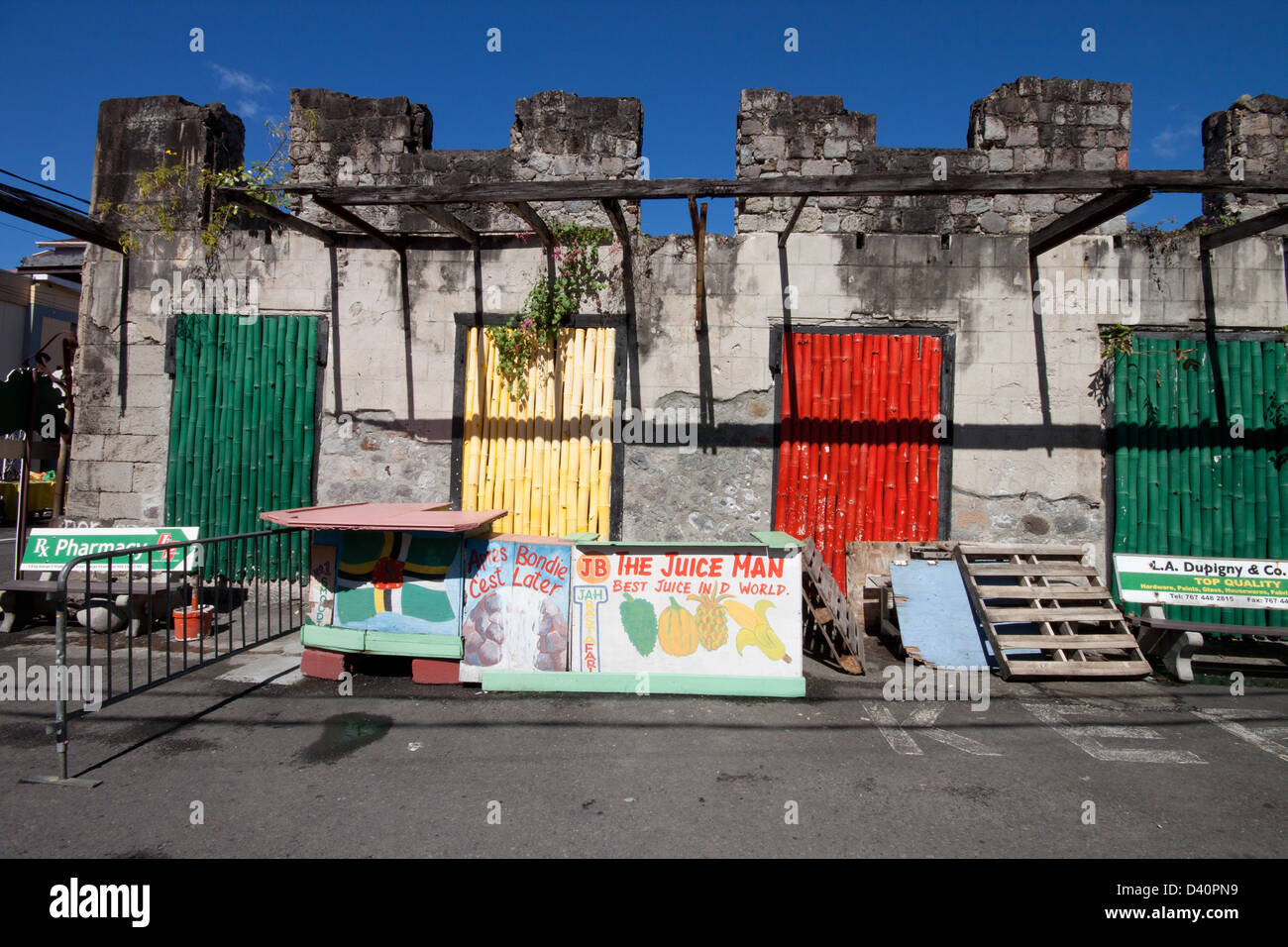 Colorful derelict building in Rosseau, Dominica - Stock Image