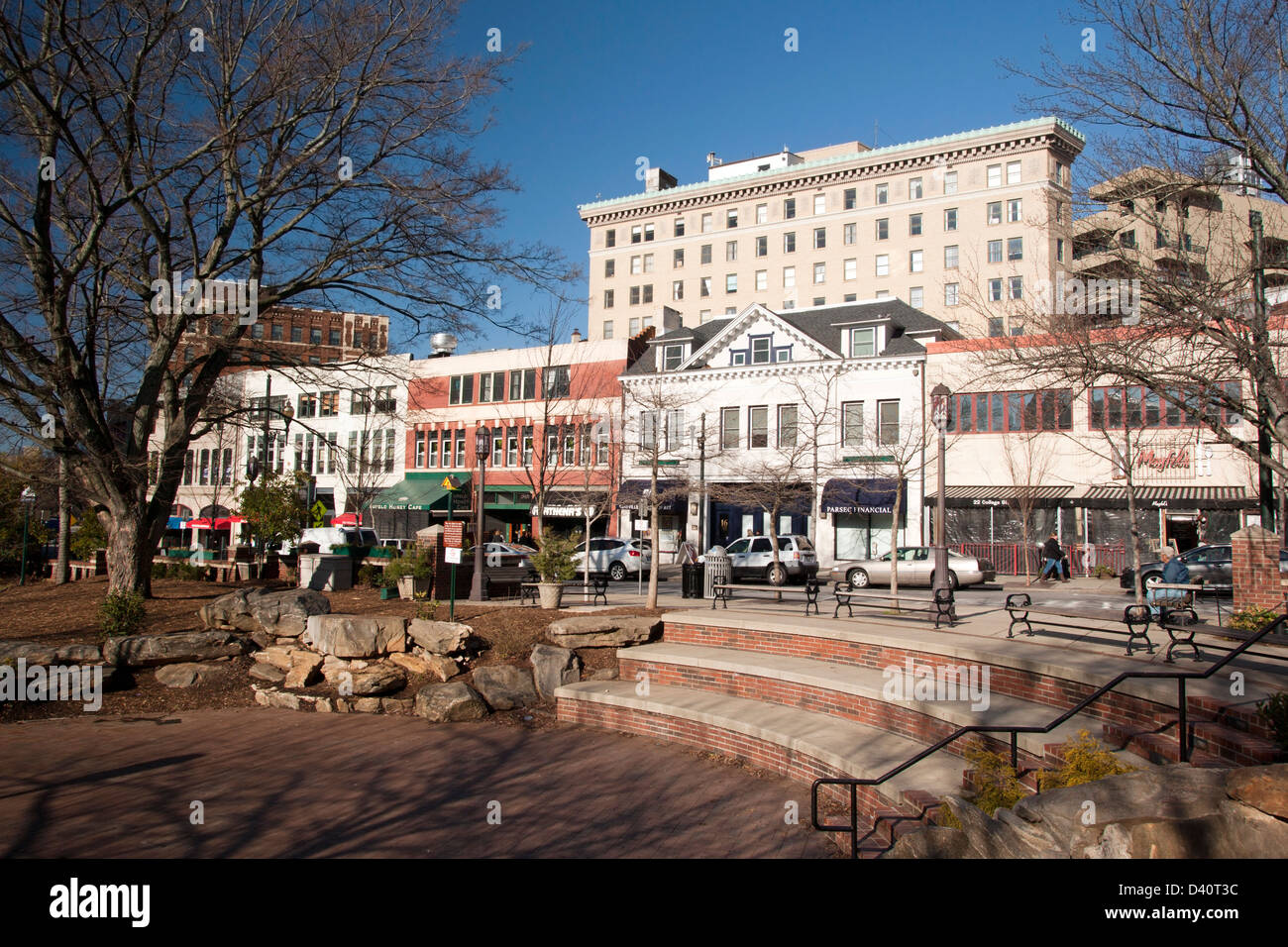 Pritchard Park - Downtown Asheville, North Carolina Stock Photo