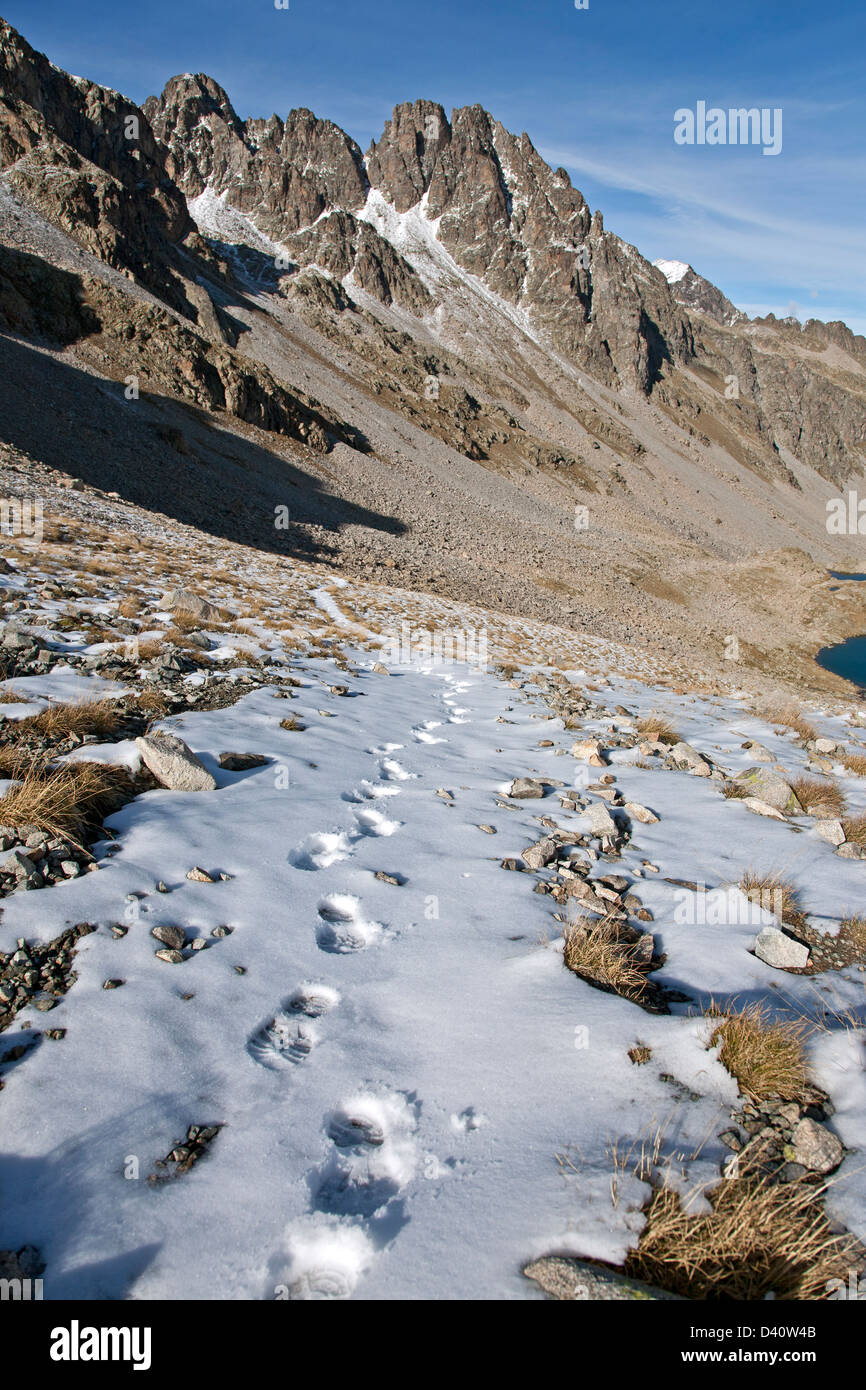 Footpaths on the snow. Ordesa National Park. Pyrenees mountains. Spain - Stock Image