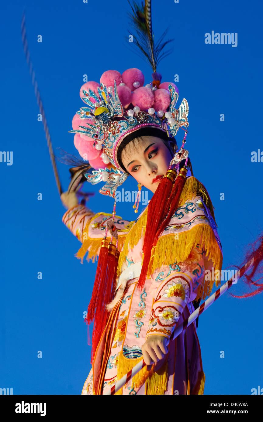 Chingay Singapore Chinese Girl In Full Chinese Opera Costume On