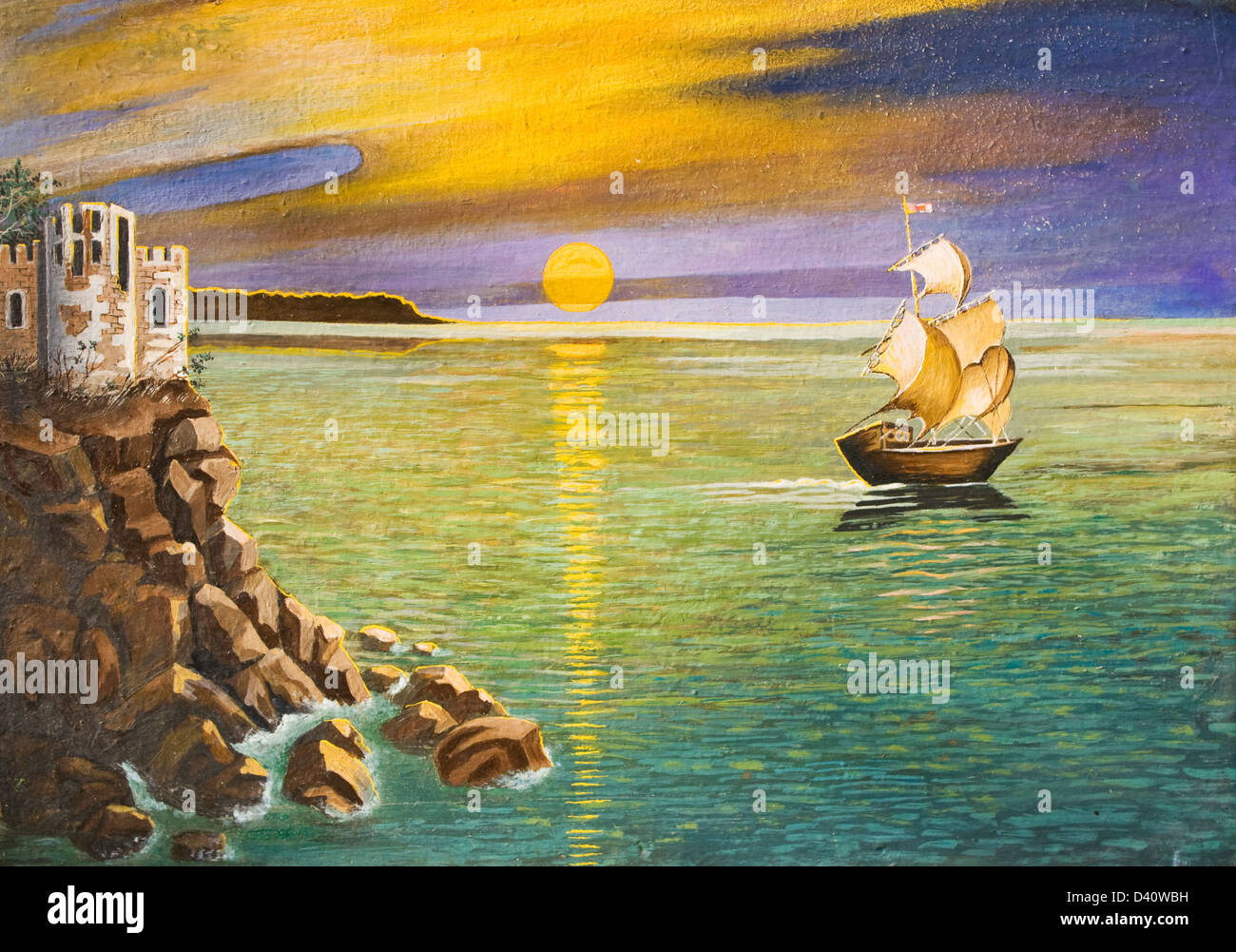 My own picture, oil painting, hand made. Sea landscape with sailing ship and castle on rock, sunset. - Stock Image