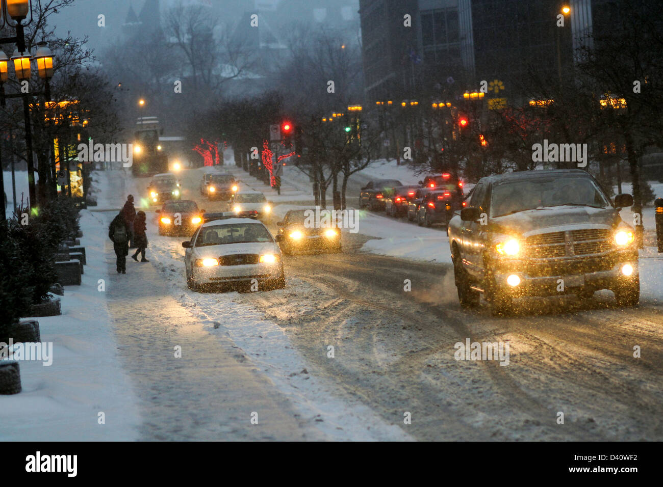 Downtown Montreal, Quebec during a heavy snowfall. - Stock Image