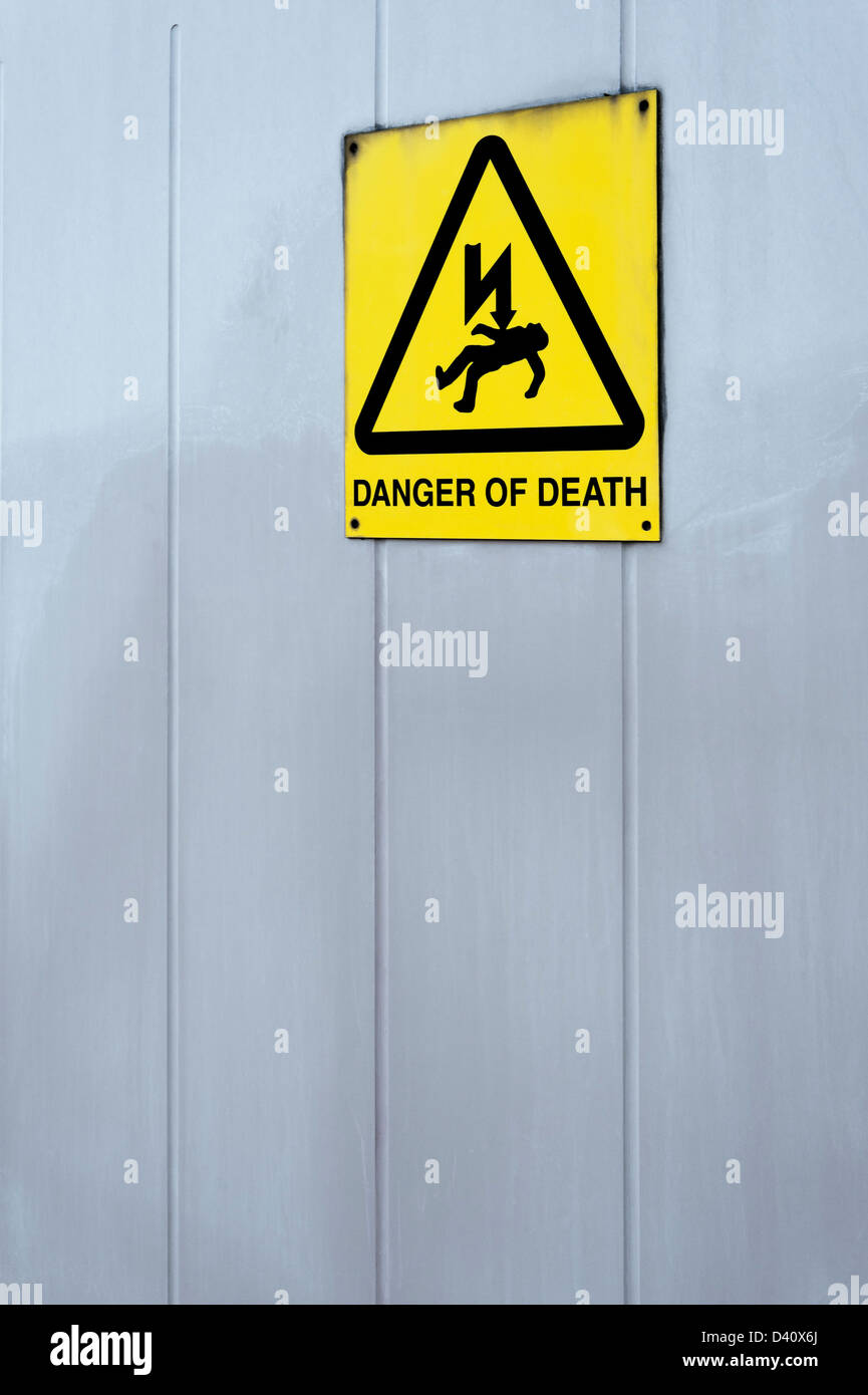 Sign for 'Danger of Death' by electrocution warning sign - Stock Image