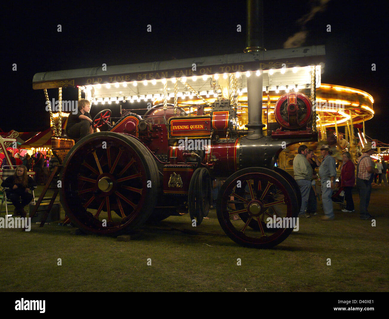 Vintage showman's engine working the fair at Lincolnshire steam and vintage rally - Stock Image