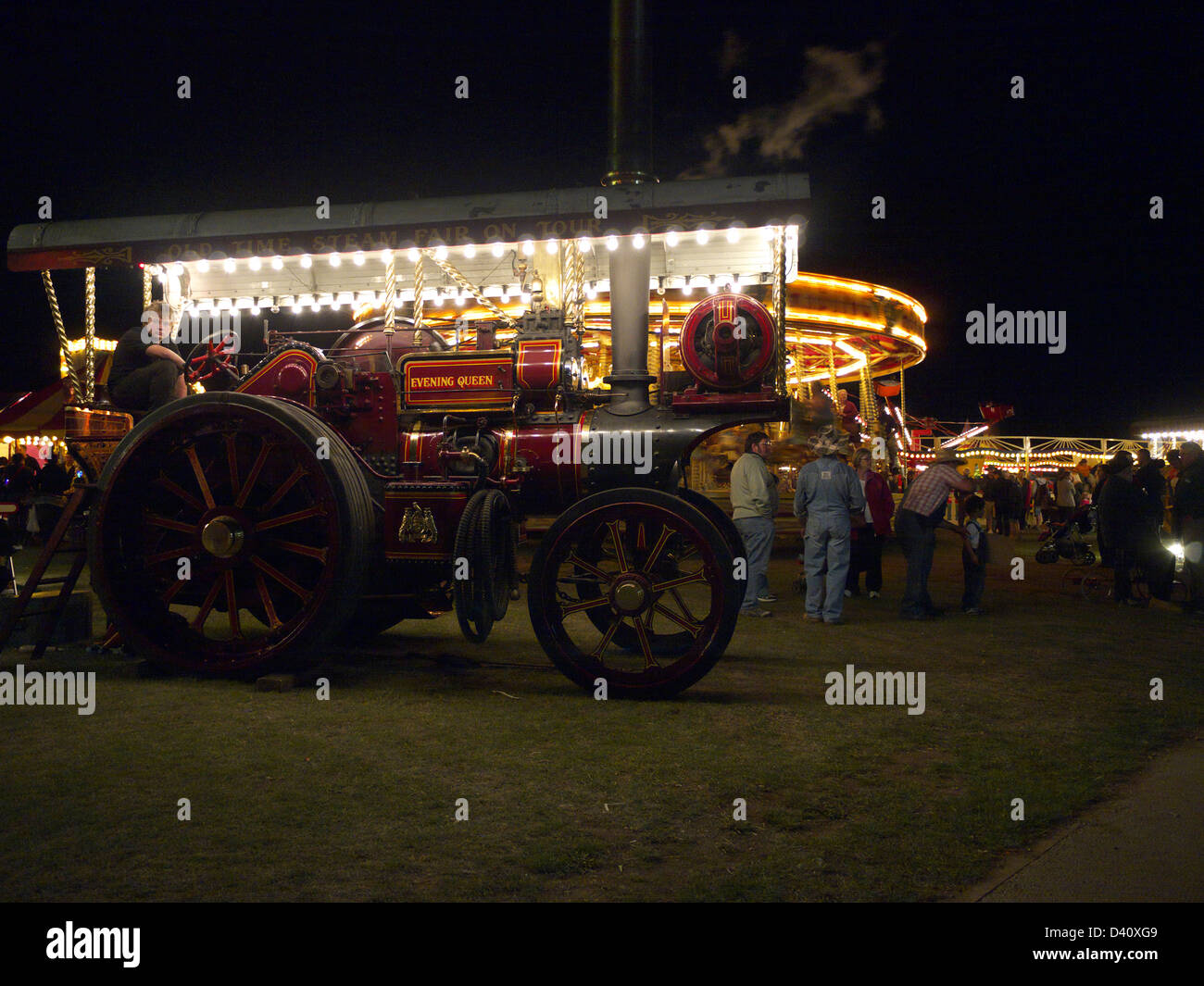 Vintage showman's traction engine working at the steam fair, Lincolnshire steam and vintage rally - Stock Image