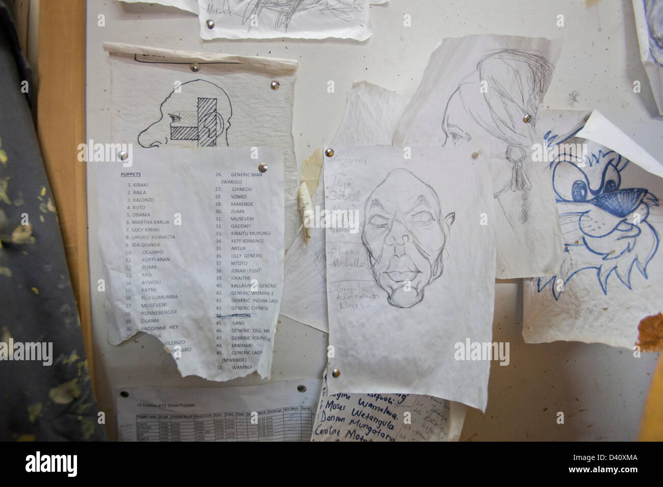 Nairobi, Kenya. 26th Feb 2013. Behind the scenes of Kenya's political satire 'The XYZ Show'. Caricature - Stock Image