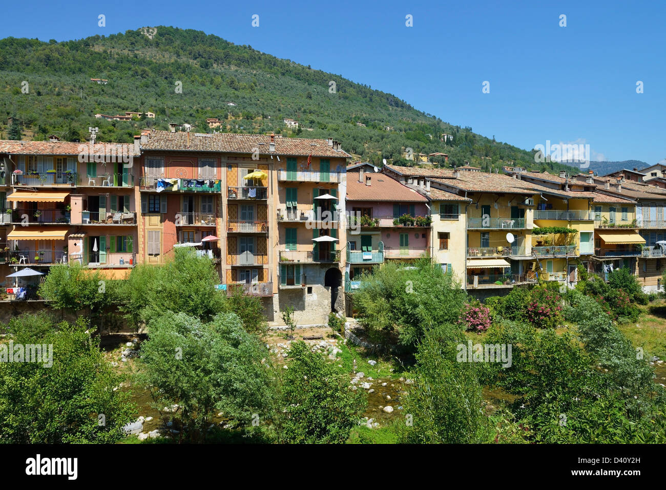 Houses along the river Bevera in Sospel, Alpes-Maritimes, Provence, France - Stock Image