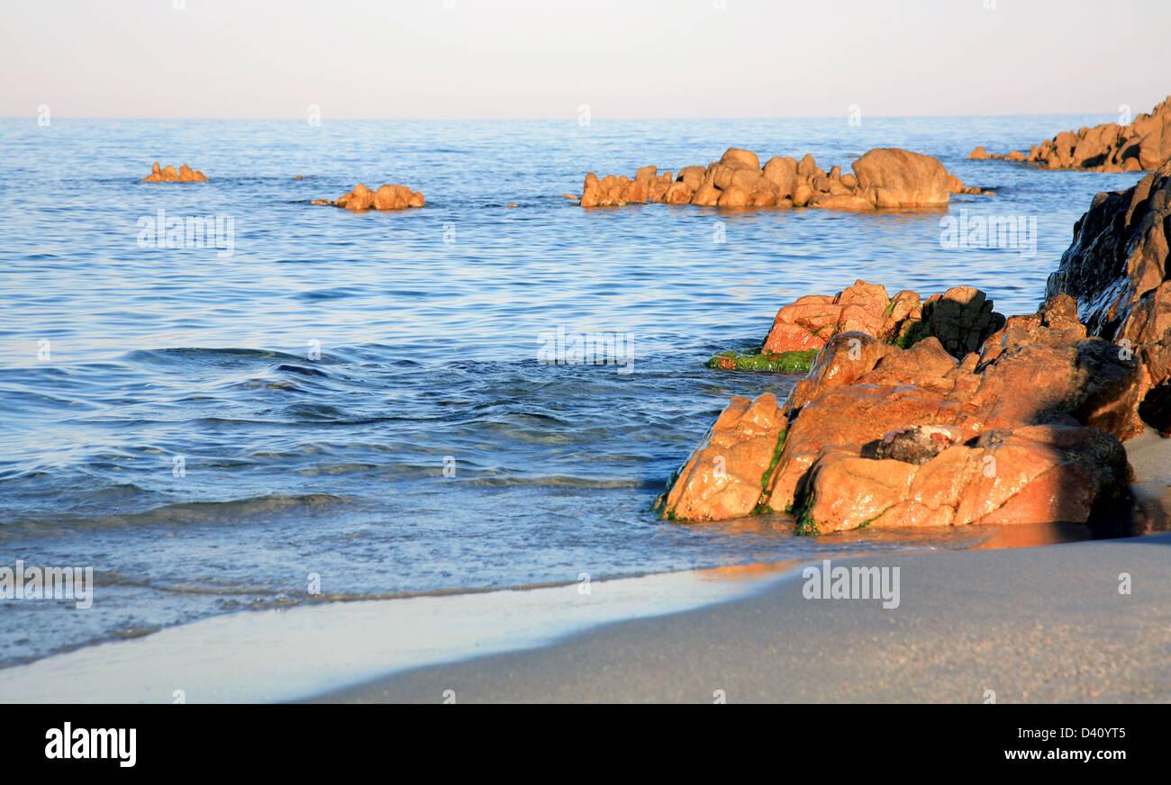 Sunset over Tyrrhenian sea Orosei Sardinia Italy - Stock Image