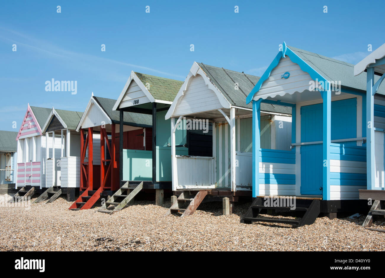 Colorful Beach Huts at Southend, Essex, UK. - Stock Image