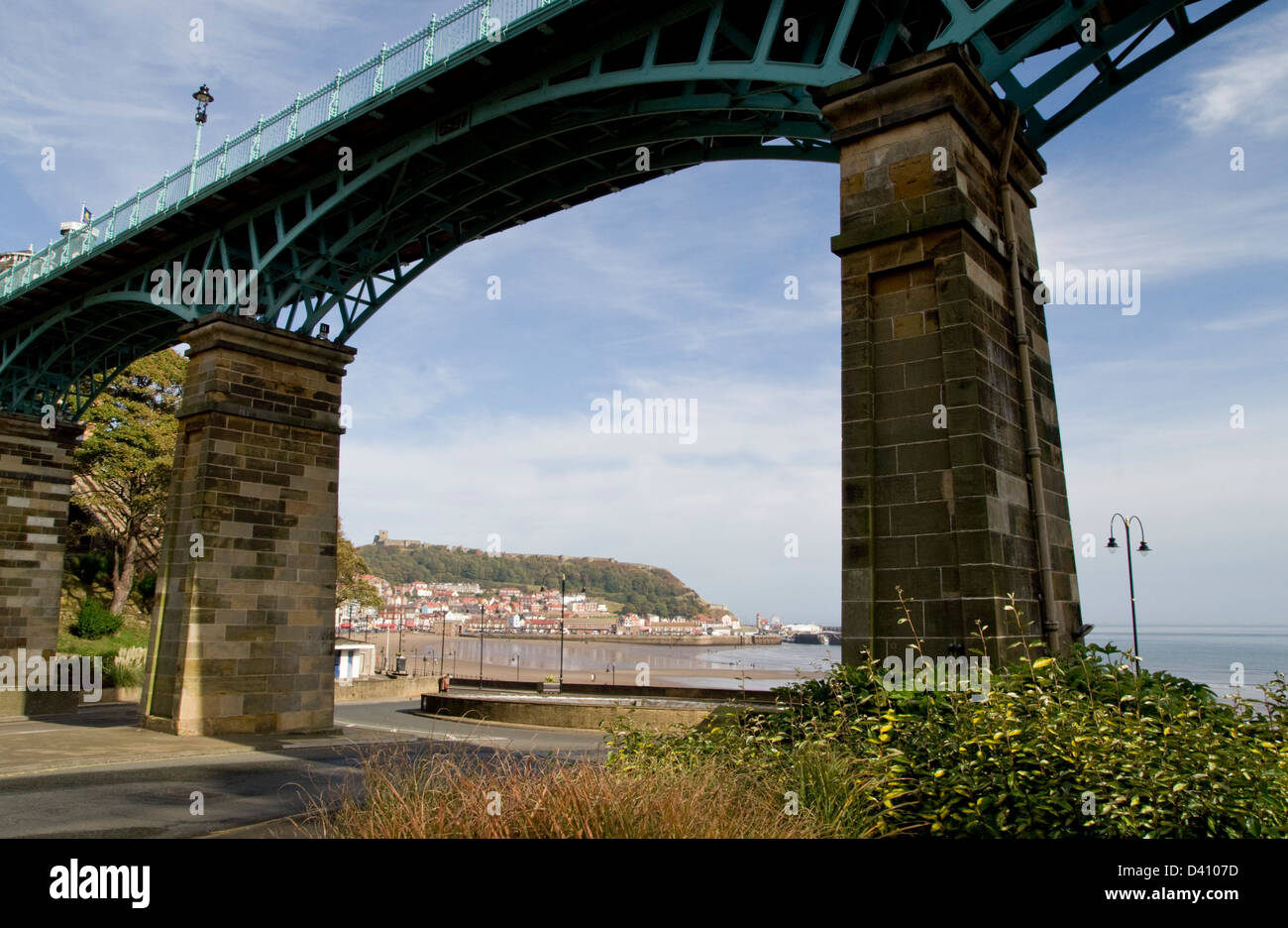 The coastal seaside resort of Scarborough framed by the Spa Bridge - Stock Image