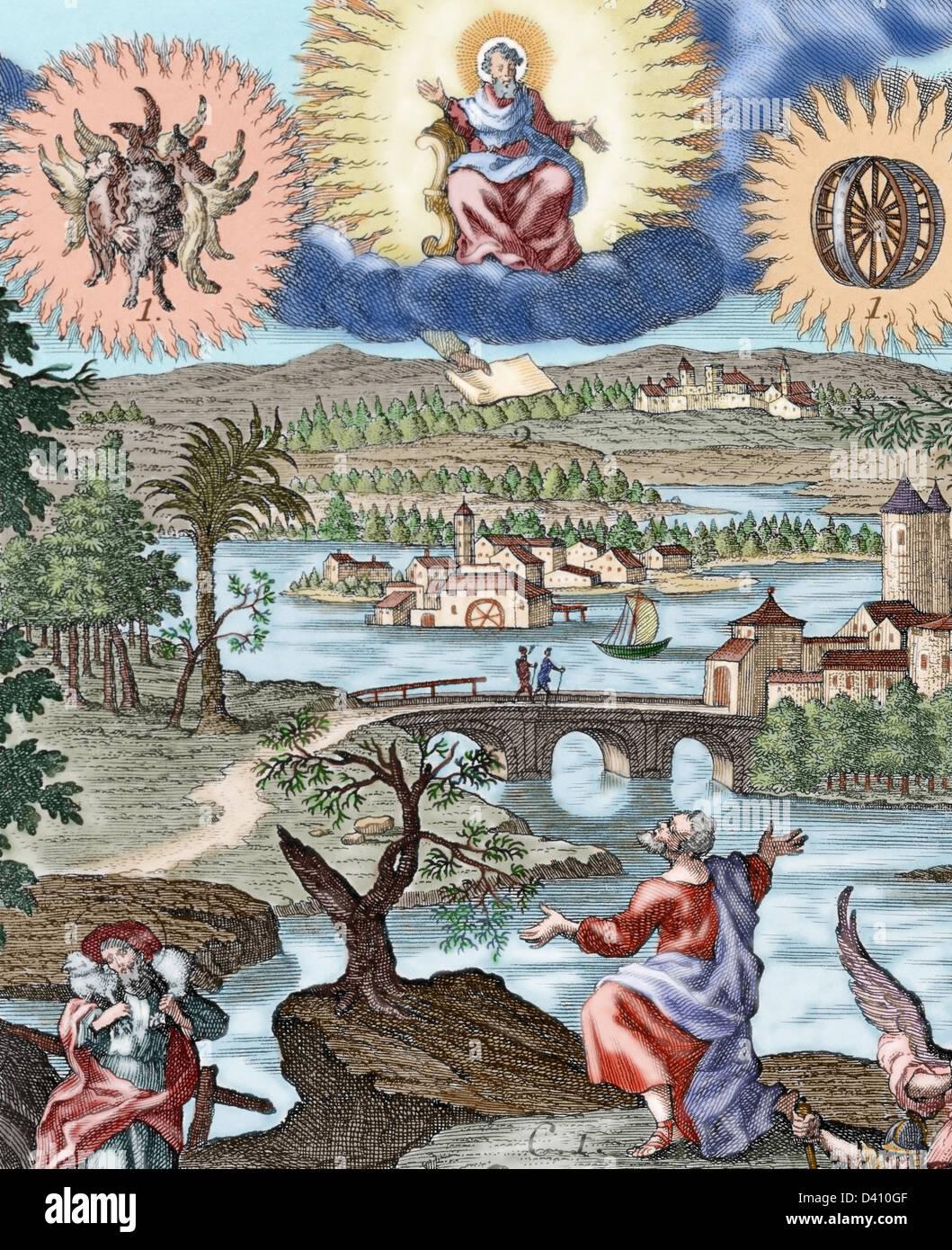 Ezekiel (622-570 BC). Hebrew prophet. Vision of Ezekiel. Colored engraving. - Stock Image
