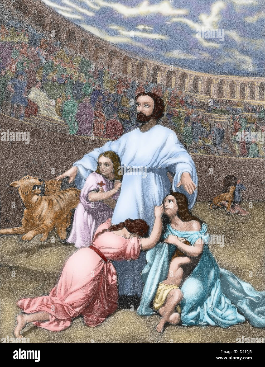 The Diocletianic Persecution or Great Persecution (303 AD). Christian delivered to the beasts after the Edict of - Stock Image
