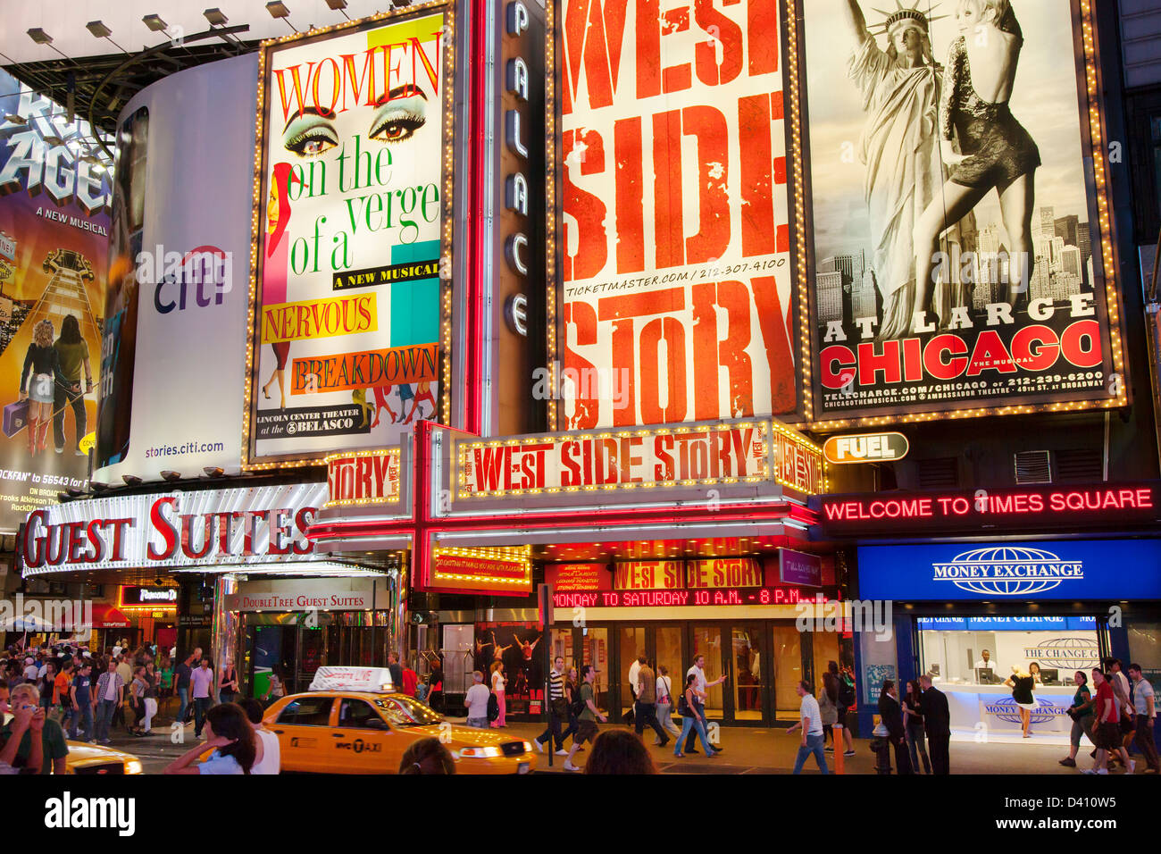 Broadway show signs along 42nd Street at Times Square, New York City, USA - Stock Image