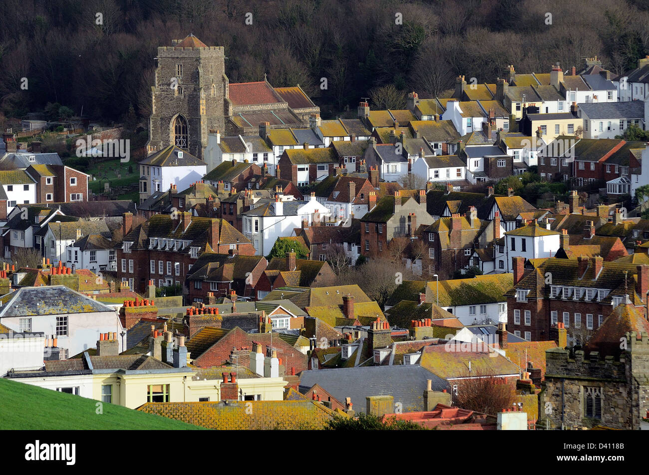 Rooftops in Hastings Old Town East Sussex England UK - Stock Image