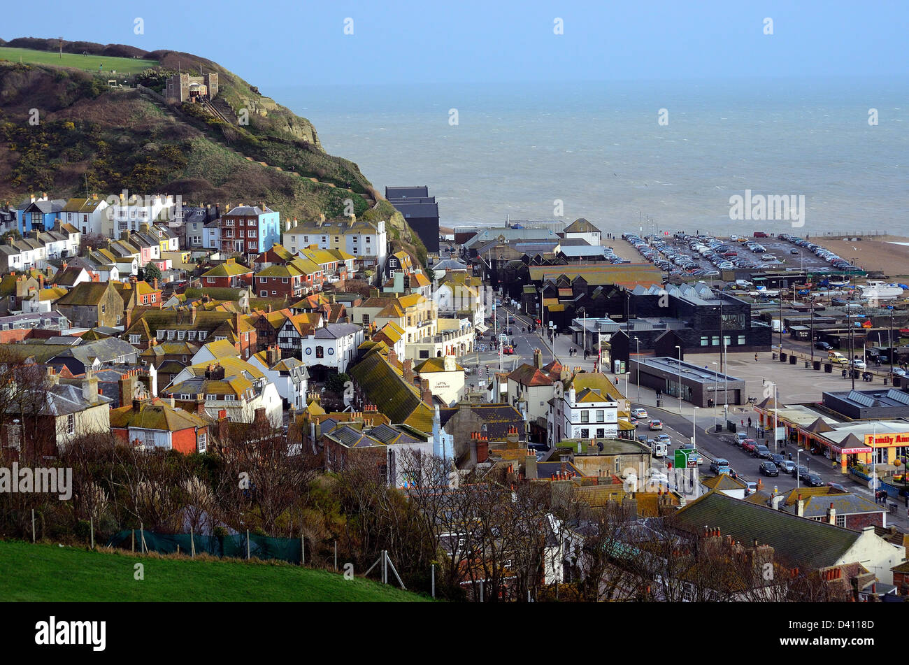 Rooftops in Hastings Old Town Sussex - Stock Image