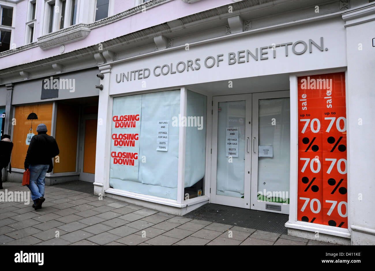 The United Colors of Benetton shop which has closed down in North Street Brighton UK - Stock Image
