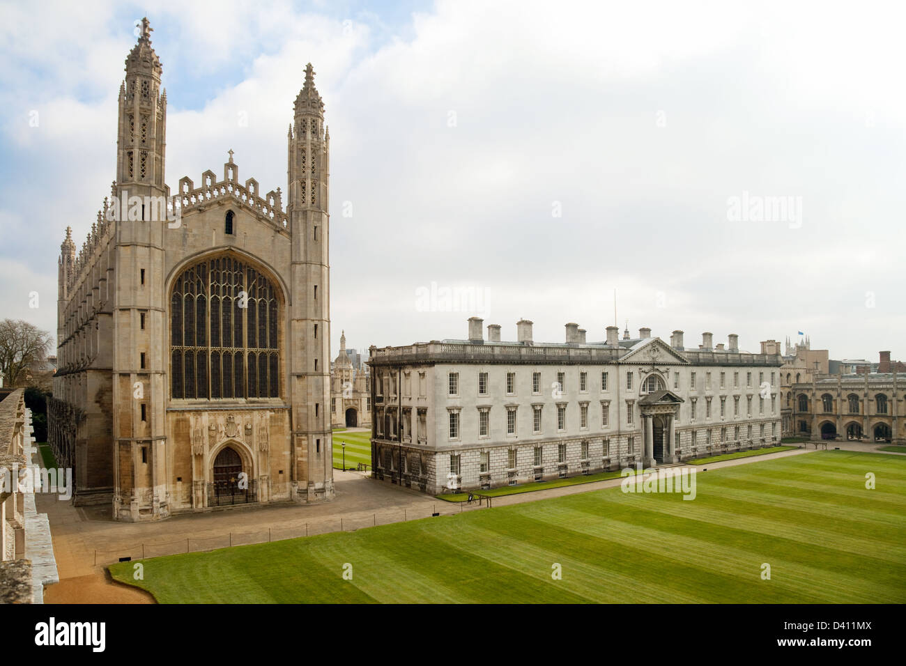 Kings College Chapel and the Gibbs building, Kings college, Cambridge University UK - Stock Image