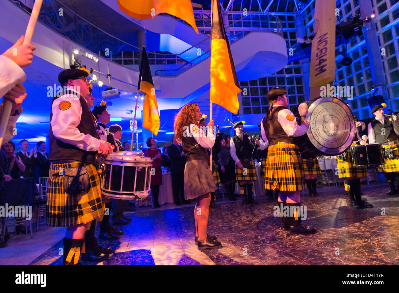 Feb. 27, 2013 - Garden City, New York, U.S. - St. Anthony's HS 'Celtic Friars' Pipe Band, from South - Stock Image