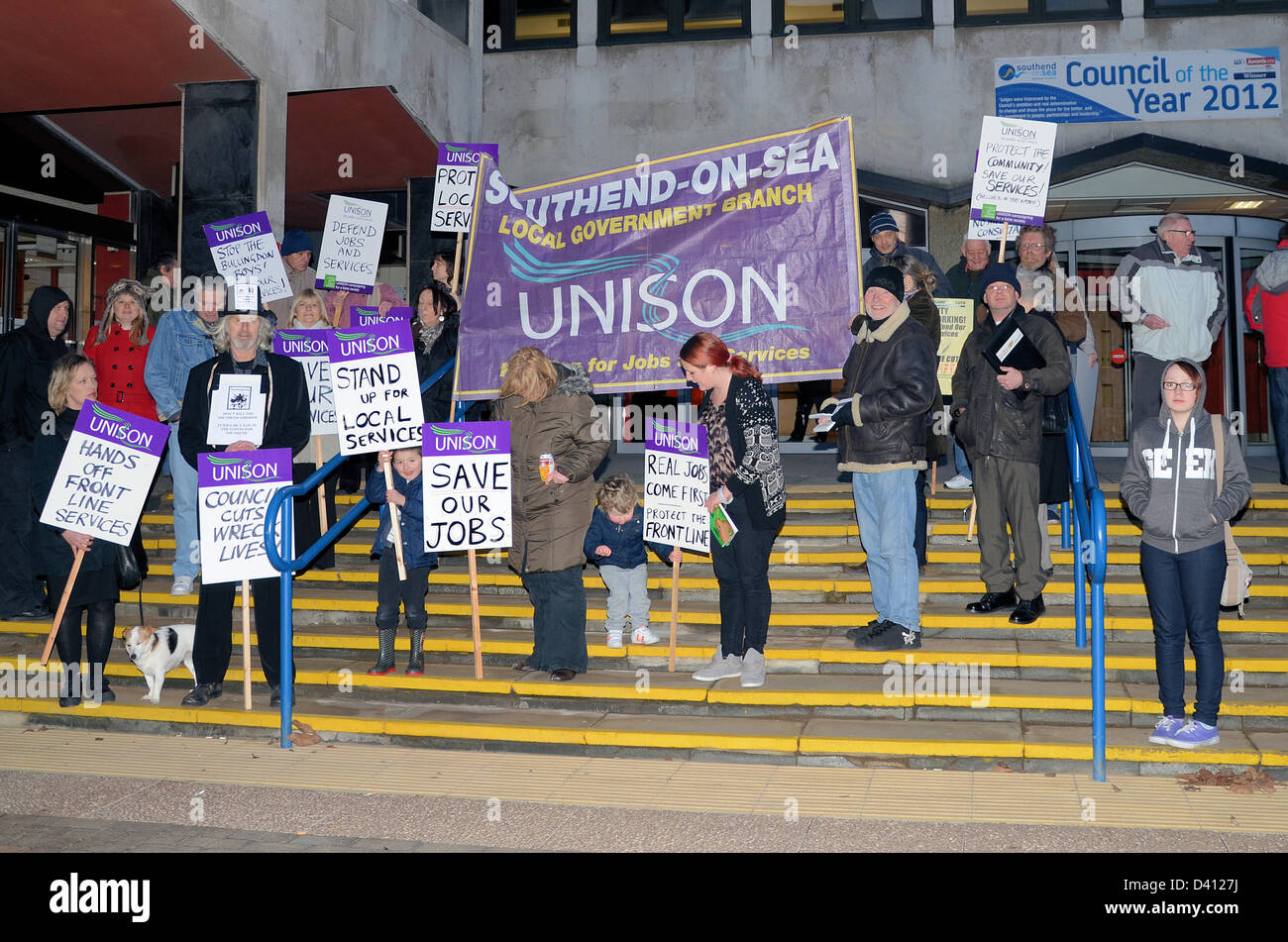 Demonstration by UNISON members and families on the steps of Southend Civic Centre against the proposed loss of - Stock Image