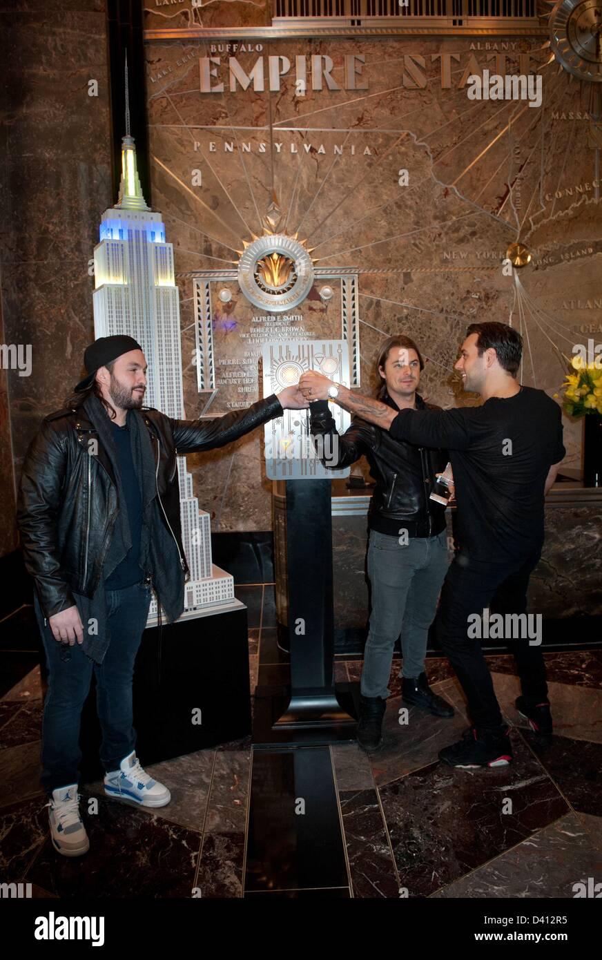 Manhattan, New York, U.S. Feb. 28, 2013. Swedish House Mafia, STEVE ANGELLO, AXWELL and SEBASTIAN INGROSSO, lights Stock Photo