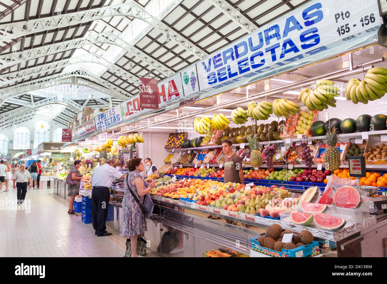 Fruit and vegetable stall in the Central Market, Valencia, Spain - Stock Image