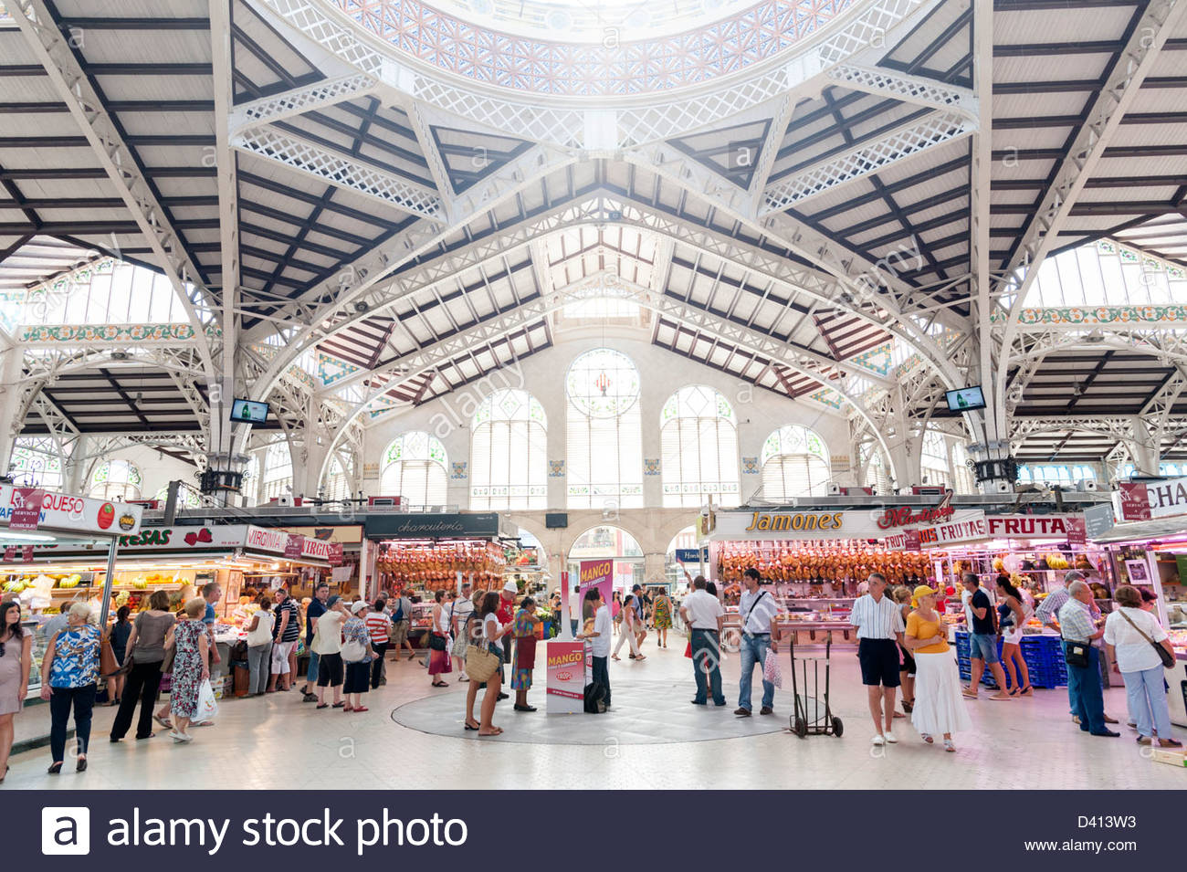 Inside the Central Market, Valencia, Spain - Stock Image