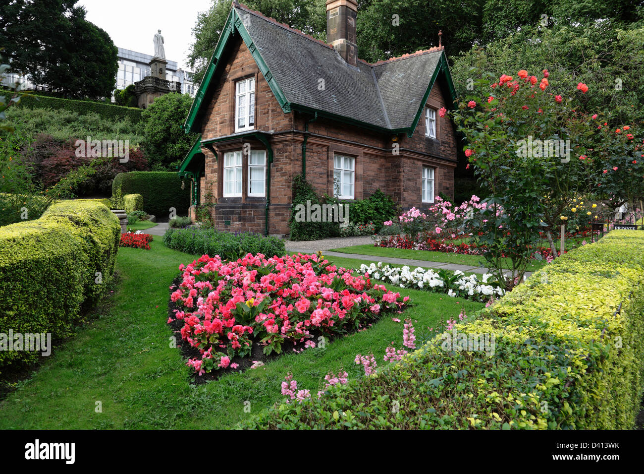 The Park Rangers Cottage in West Princes Street Gardens, Edinburgh city centre, Scotland, UK - Stock Image