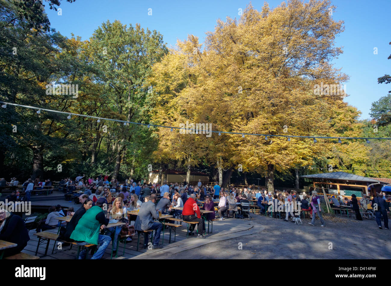 Cafe and beer garden Am Neuen See in Tiergarten in autumn, Berlin, Germany - Stock Image