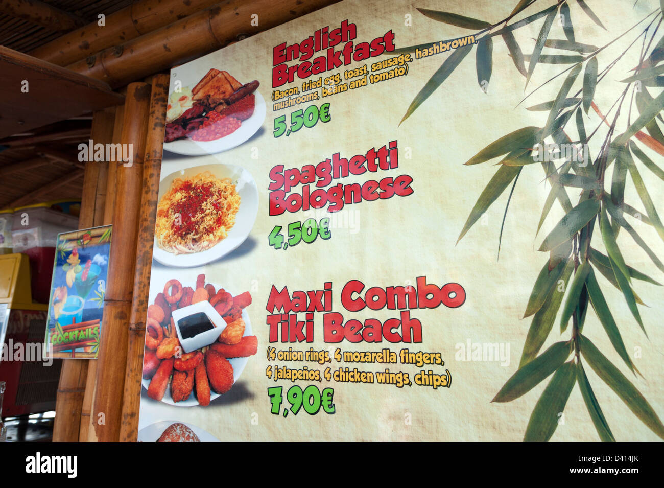 Beachfront cafe menu showing typical English food, Benidorm, Costa Blanca, Spain - Stock Image