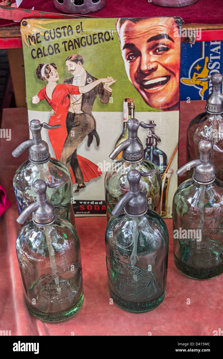 Soda Water bottles at Antique market, Plaza Dorrego, San Telmo, Buenos Aires, Argentina - Stock Image