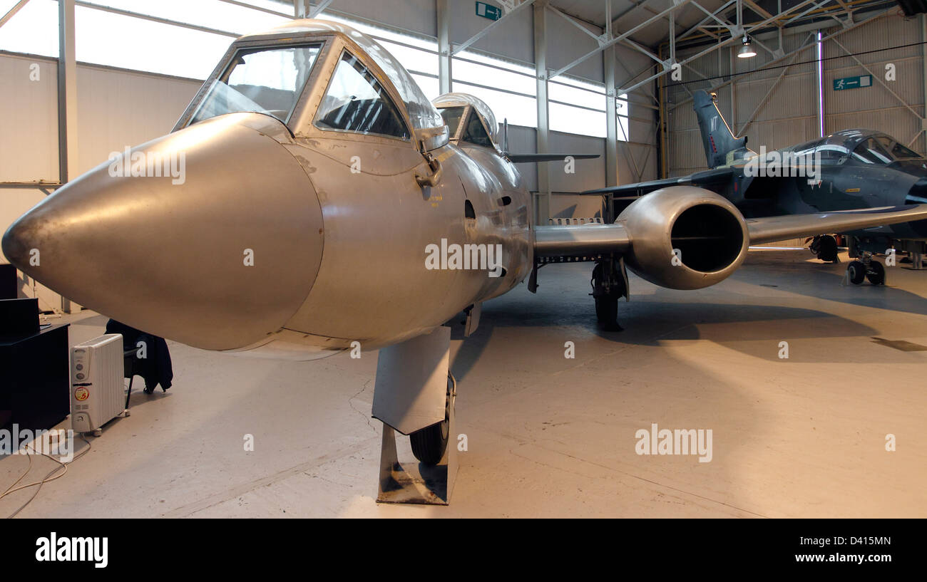 Meteor F8 Fighter used to evaluate the advantages of the prone flying position when coping with G forces. Potentially Stock Photo