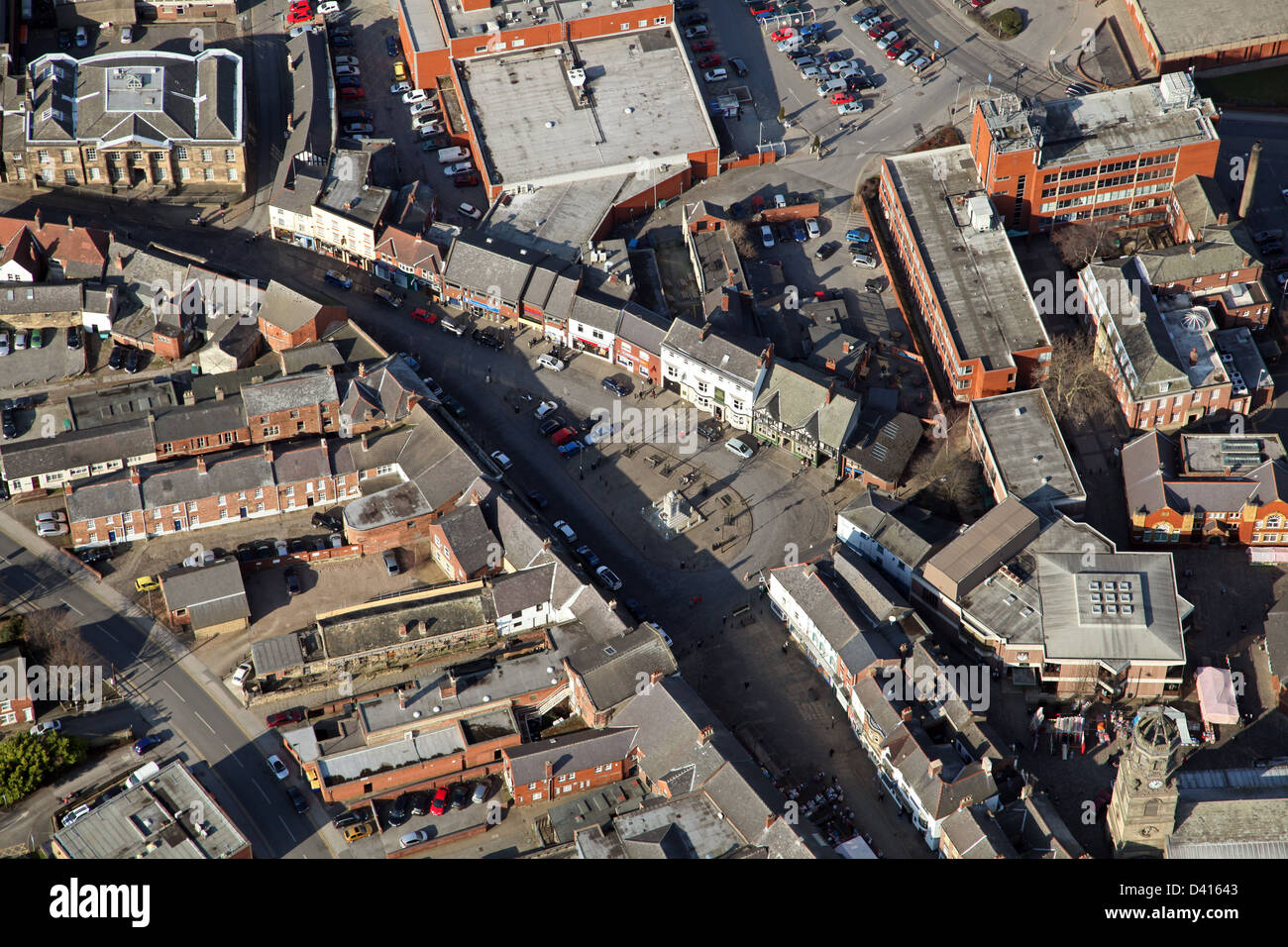 aerial view of Pontefract, West Yorkshire - Stock Image