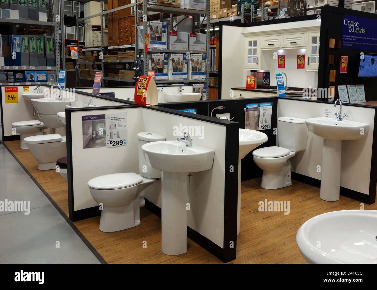 Bathroom Suites On Display In A B & Q Store Stock Photo: 54116540